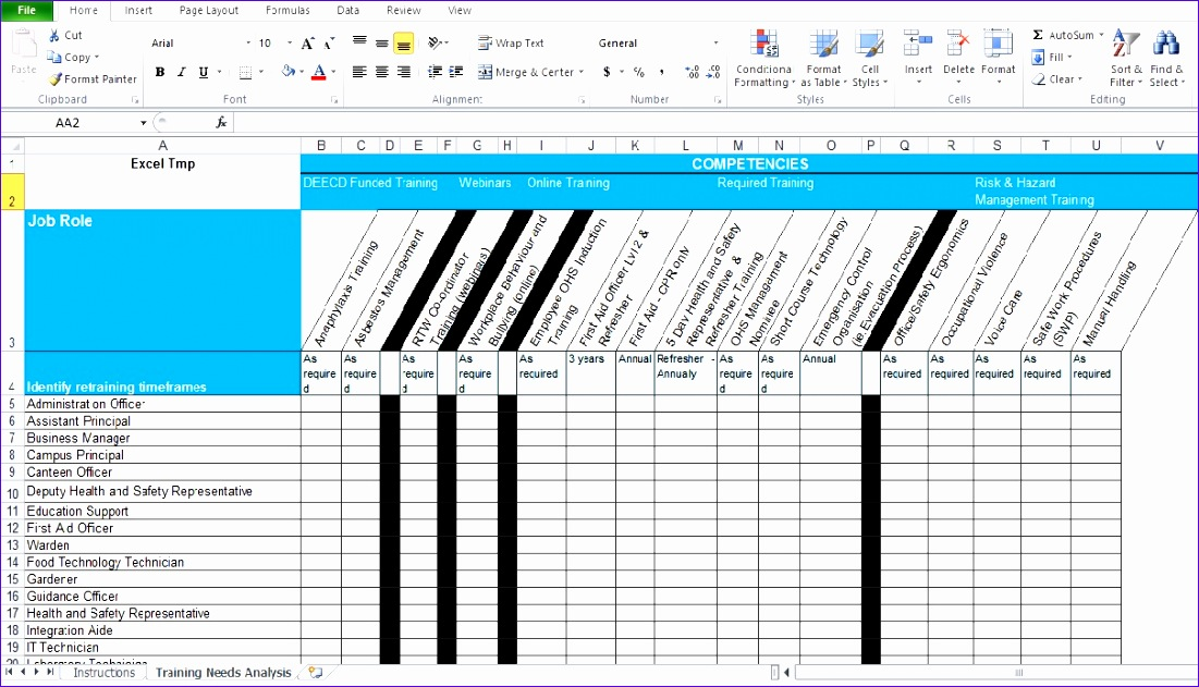 Sample Excel Template Fwers Inspirational Training Needs Analysis - sample needs analysis