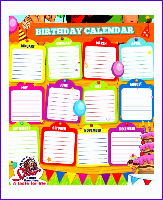 Sample Free Birthday Calendar Template Excel Boonf Beautiful Sales - sample birthday calendar