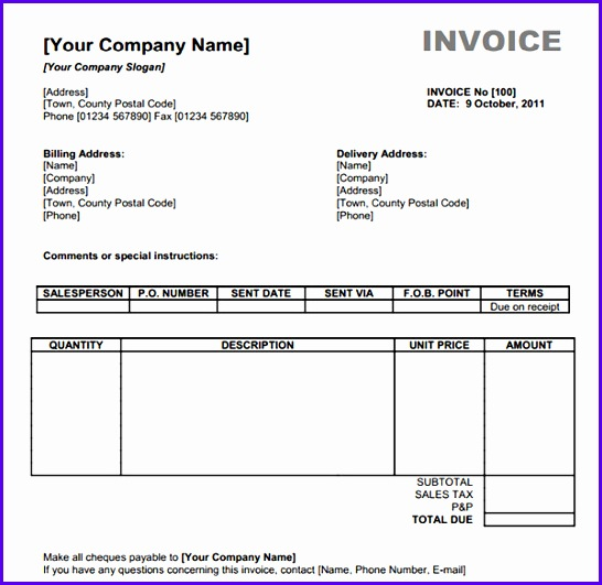 10 Microsoft Excel Invoice Template Free Download - ExcelTemplates