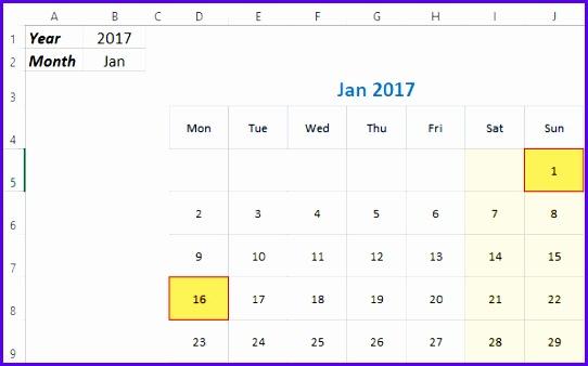 Sample Monthly Calendar Template Excel 2018 Jujkg Unique Free