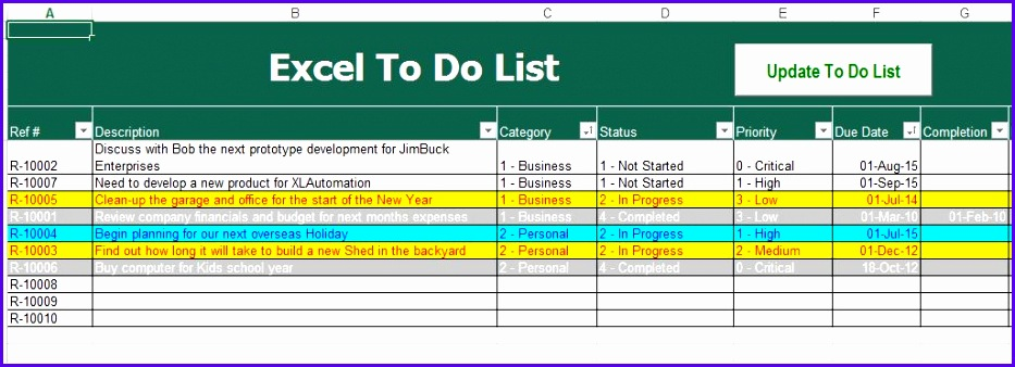 Sample Task List Excel Template I7aka Awesome to Do List Excel