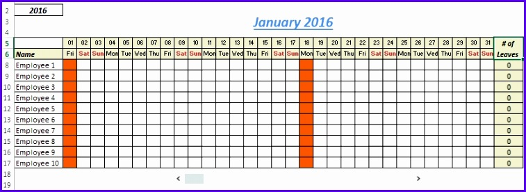 Vacation Schedule Template Excel Vacation Calendar Employee - vacation schedule template