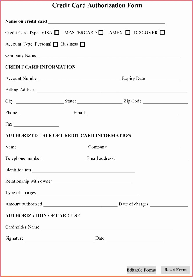 Hotel Credit Card Authorization Form Template Choice Image - authorization to use credit card