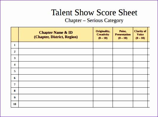 Sample Talent Show Score Sheet cvfreepro