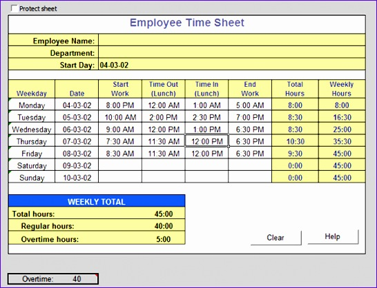 Sample Time Card Calculator Step Enter Employee Dates Times Free