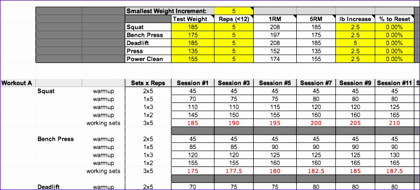 Strength Training Excel Template Images - template design free download