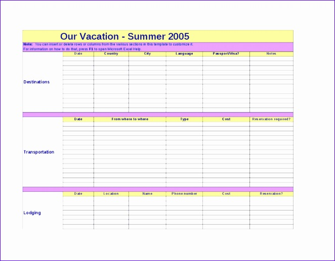 12 Travel Itinerary Template Excel - ExcelTemplates - ExcelTemplates