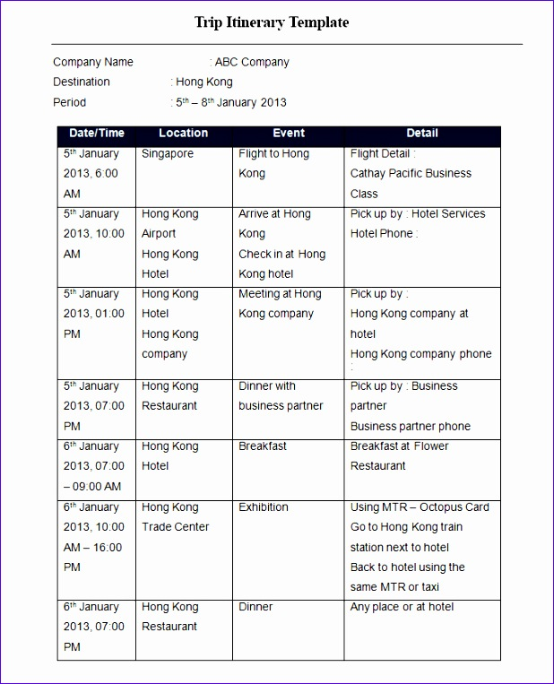 free vacation itinerary template