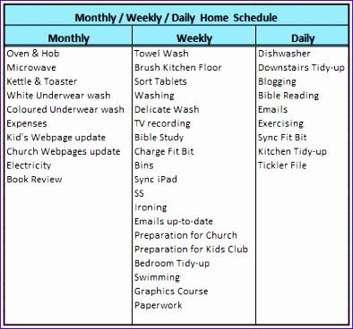 14 Week Schedule Template Excel - ExcelTemplates - ExcelTemplates - housework schedule