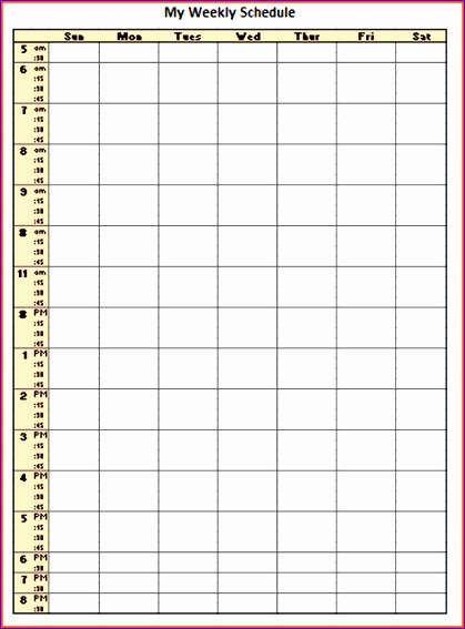 Weekly Itinerary Template Excel Ewfkg Fresh Printable 24 Hour Daily