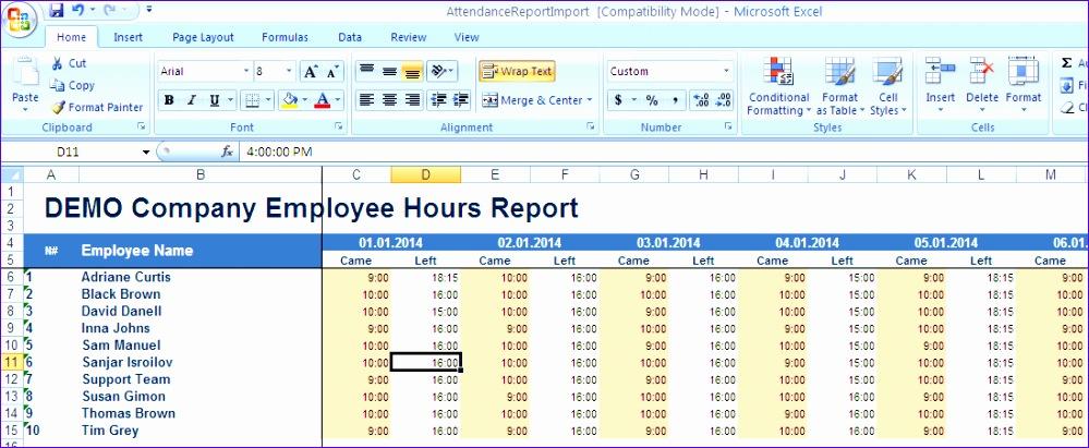 Attendance Report Template oakandale