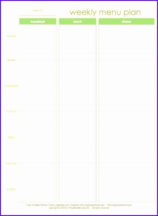 Example Weekly Calendar Excel Template O5cra Fresh Menu Planner