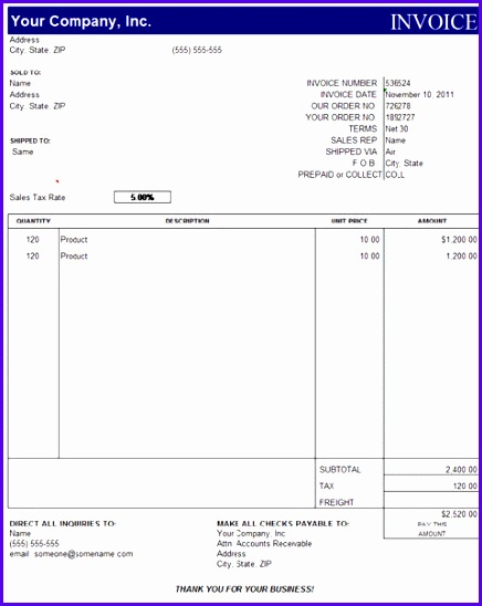 10 Sales Invoice Template Excel Free Download - ExcelTemplates