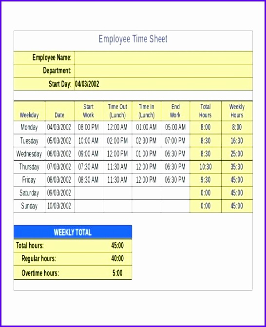 8 Timesheet Excel Templates - ExcelTemplates - ExcelTemplates