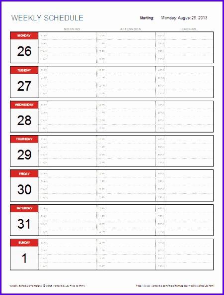 Weekly Schedule Examples cvfreepro