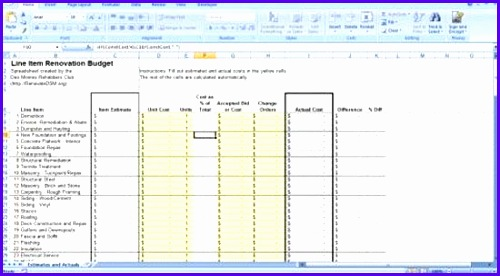 Sample Construction Budget Template Excel Vxgux Fresh Renovation - sample construction budget