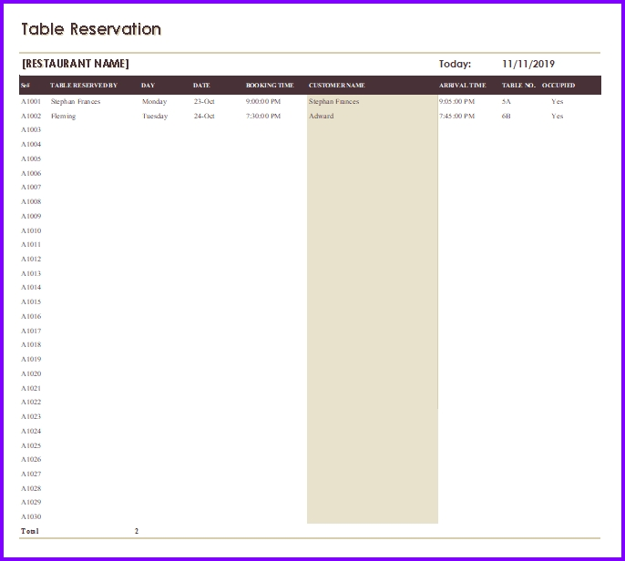 Restaurant Reservation Template Excel Templates Excel Spreadsheets