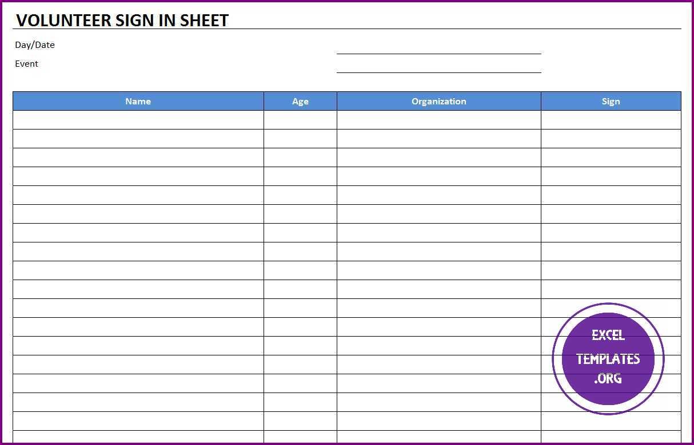volunteer sign in sheet template