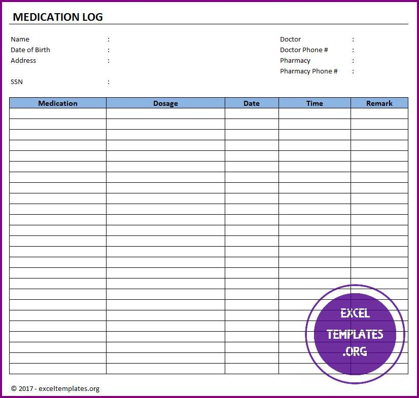 printable patient medication list template free wallet