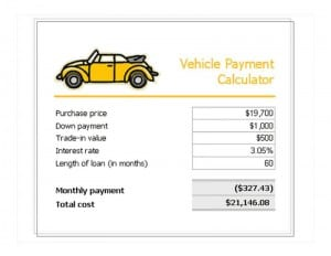 Vehicle Loan Payment Calculator Template