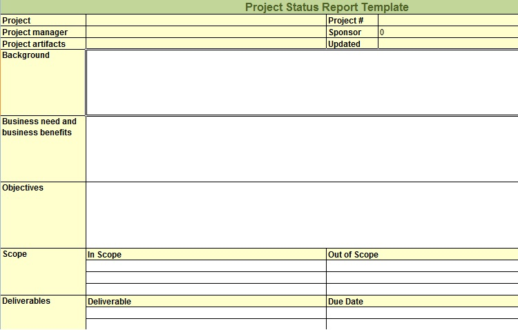 weekly report template excel - project status report excel