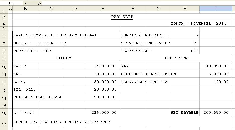 Salary Slip Format Using Excel Template - payslip sample template
