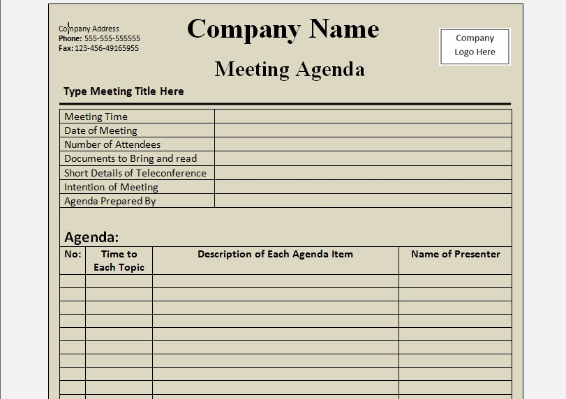 meeting agenda template word document