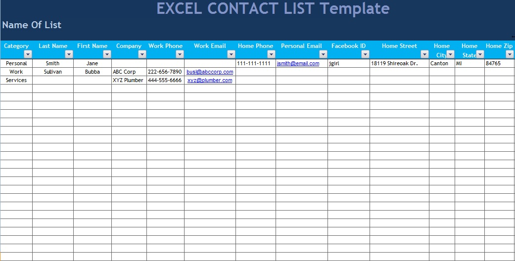 excel contact list template - excel phone list template