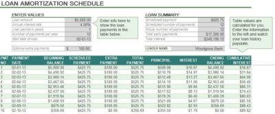 Auto Loan Amortization Schedule Excel | Exceltemple