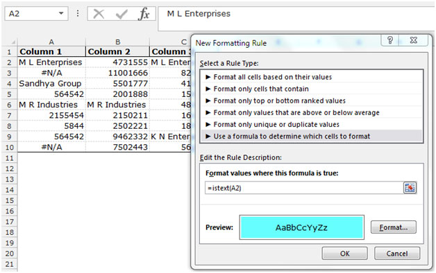 How to highlight only text containing cells Excel Text