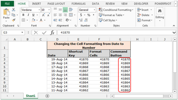 Changing the Cell Formatting from Date to Number in Microsoft Excel