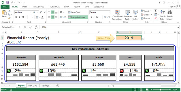 Financial Report (Yearly) Dashboard in Excel 2010 Microsoft Excel - financial report excel