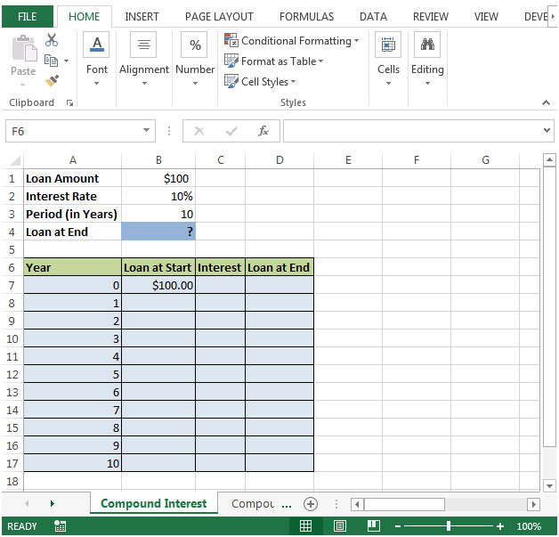 How to create Compound Interest calculator in Microsoft Excel - loan interest calculator