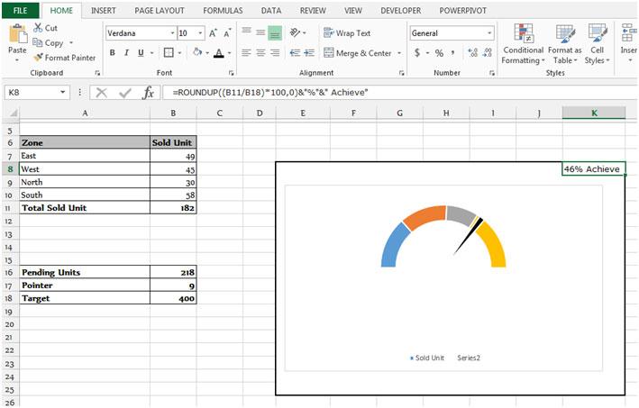 Gauge Chart in Microsoft Excel Tips