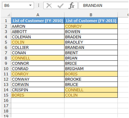Compare Two Columns in Excel Tips