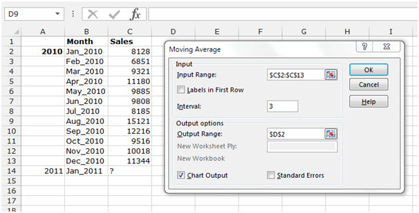 Moving Average in Microsoft Excel Tips
