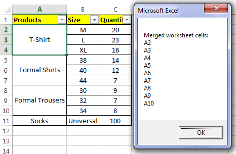 Find Merged Cells in Excel