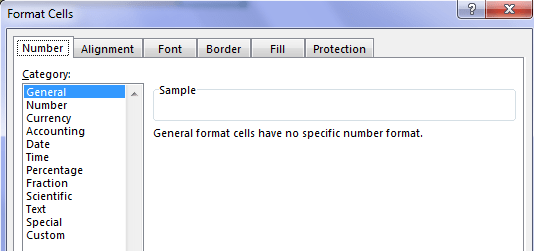 Format Cells to General Type
