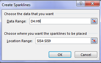 data range for creating sparklines