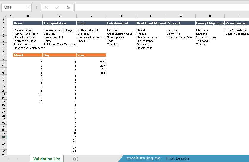 How to Build a Personal Expense Tracking Template \u2013 Excel Tutoring - list of expenses