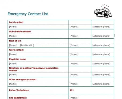 5+ Emergency Contact List Templates \u2013 Word Templates