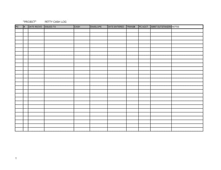 5+ Petty Cash Log Templates \u2013 Word Templates