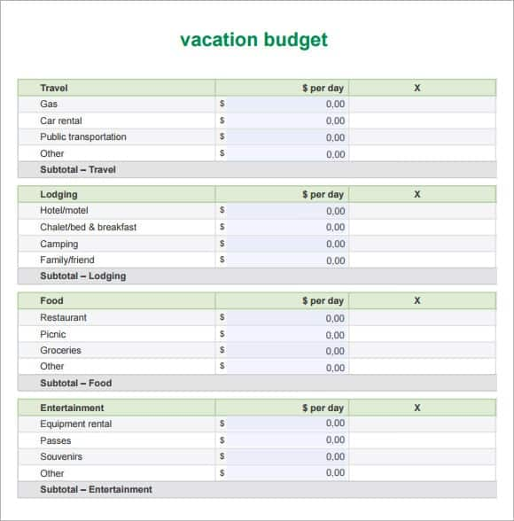 5+ Vacation Cost Planner Templates \u2013 Word Templates