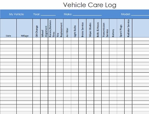 vehicle service log template