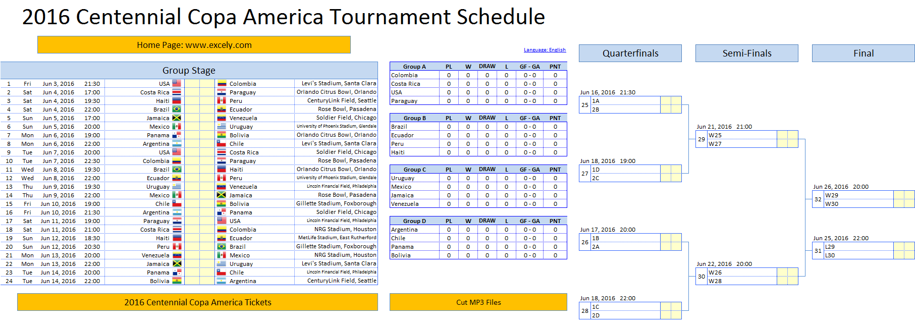 tournament schedule template