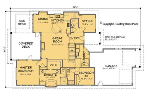 Modern House, Garage \ Dream Cottage Blueprints by Exciting Home Plans - bungalow floor plans
