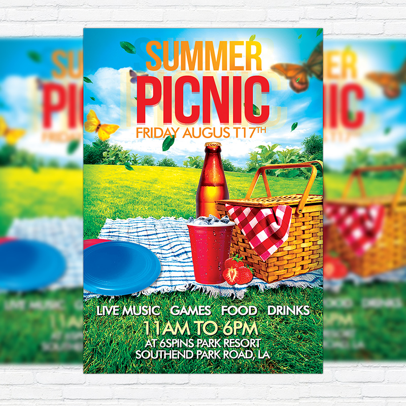 Summer Picnic \u2013 Premium Flyer Template + Facebook Cover - picnic flyer template
