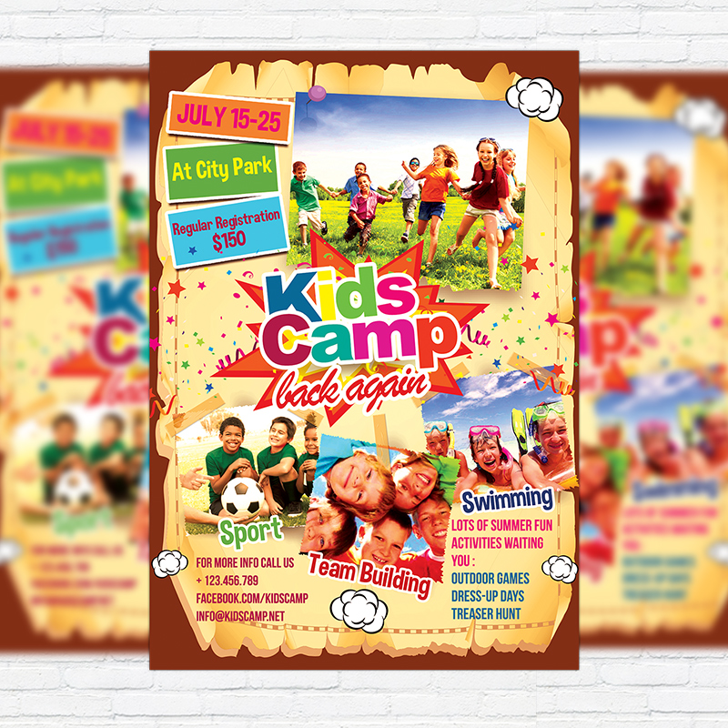 Kids Summer Camp \u2013 Premium Business Flyer PSD Template - Summer Camp Flyer Template