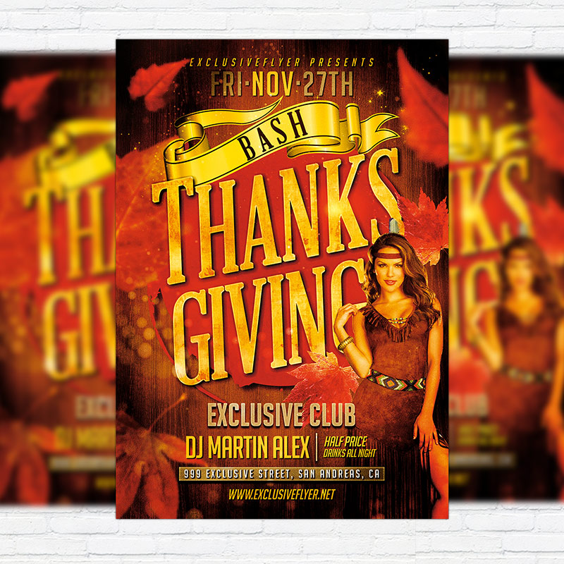 Thanksgiving Bash \u2013 Premium Flyer Template + Facebook Cover