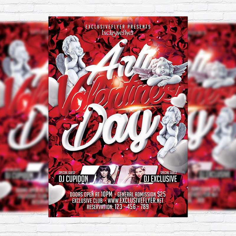 Anti Valentine\u0027s Day \u2013 Premium Flyer Template + Facebook Cover